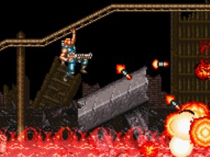 Side Scrolling perspective from Contra 3 showing Mad Dog hanging from a rail over a pit of fire while firing the heat-seeking missile launcher
