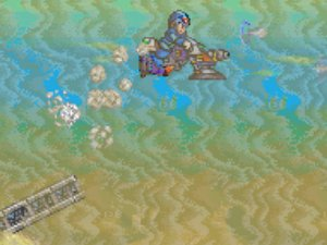 Side scrolling perspective from Megaman X2 where X is on a futuristic motorcycle flying off a ramp