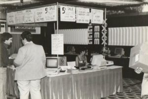 """Frank Hogg: """"Bob Phillips of GMX, Rich Hogg did all the software, drivers, etc., for Flex and OS9 and Carol Sprague behind the table."""""""