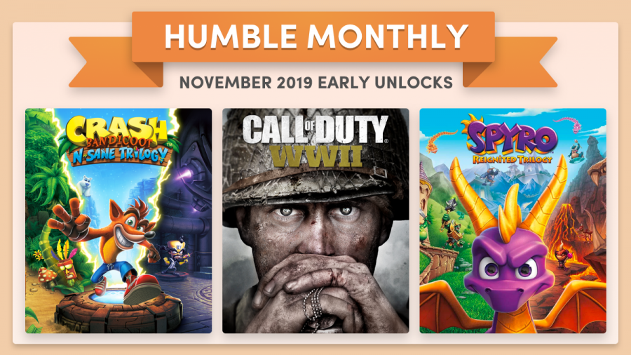 Call of Duty: WWII, Crash Bandicoot N. Sane Trilogy, and Spyro Reignited Trilogy are yours in the Humble Monthly for October!
