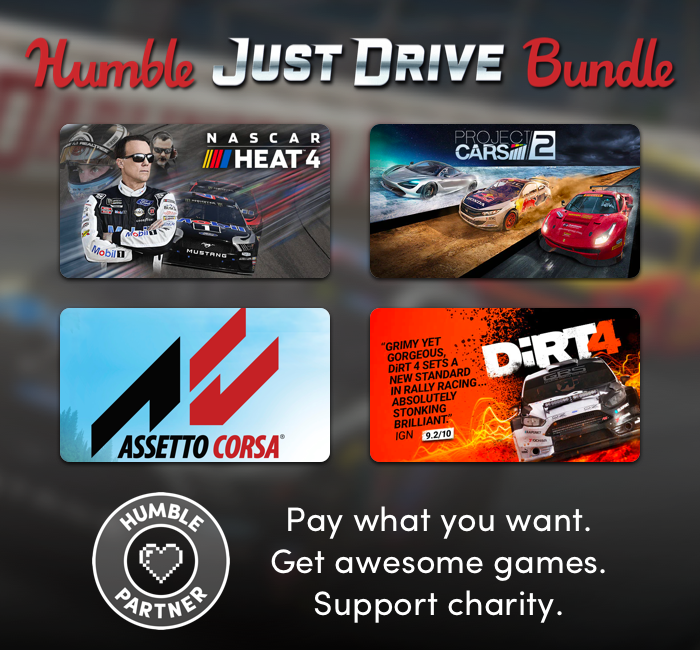 Pay just $1 for a bundle of great Steam PC racing games in the Humble Just Drive Bundle - NASCAR Heat 4, Project CARS 2, Road Redemption, etc.