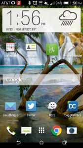 The Home Screen on my HTC One M8. Google Maps should be where Waze is!