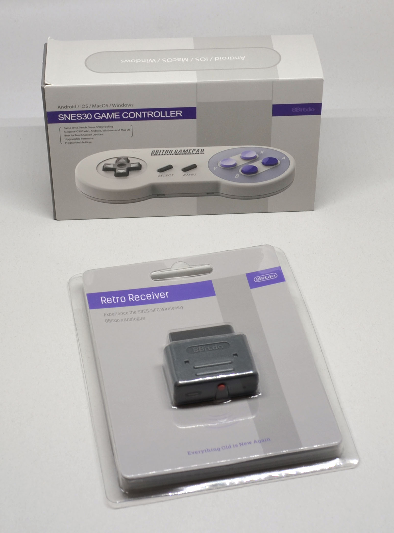 The packaging for the 8Bitdo offerings.